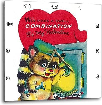 3dRose Cassie Peters Valentine - Vintage Raccoon Valentine - 13x13 Wall Clock (DPP_305810_2)