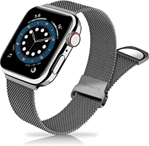 Metal Band Stainless Steel Mesh Magnetic Compatible with Apple Watch Bands 38mm 40mm 42mm 44mm, Milanese Sport Clasp Loop Women Men Compatible for iWatch Series SE/6/5/4/3/2/1 Space Gray Grey