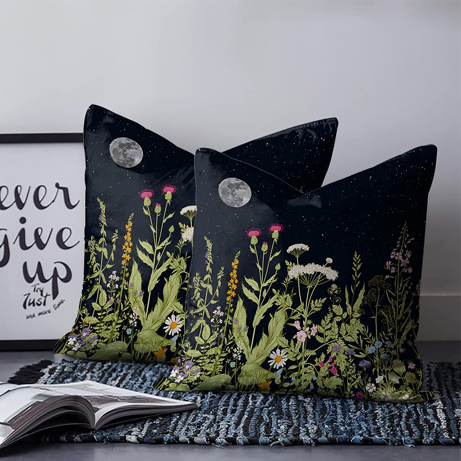 Throw Pillow Cover Retro Herbal Green Max 42% OFF 4 years warranty Flowers Gorgeous Dr Plants