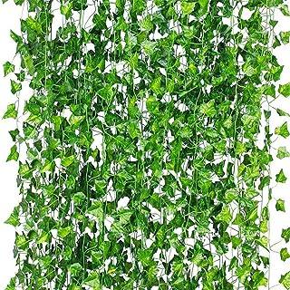 LANGING 12 Strengen Kunstmatige Klimop Garland Bloemen Nep Klimop Opknoping Wijnstok Plant voor Thuis Tuin Decor 84Ft (gro...