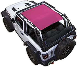 SPIDERWEBSHADE Jeep Wrangler JL Mesh Shade Top Sunshade UV Protection Accessory USA Made with 10 Year Warranty for Your JL 2-Door (2018 - current) in Pink