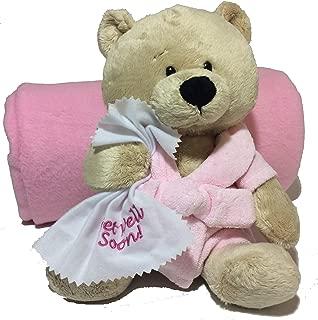 Ganz 10.5 Get Well Teddy Bear with Pink Robe Plush and Deluxe Fleece Blanket from Northeast Fleece (Pink Robe Bear with Blanket)