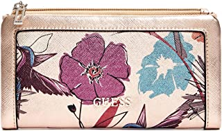 GUESS Womens Andover Floral Metallic Slim Wallet Bag