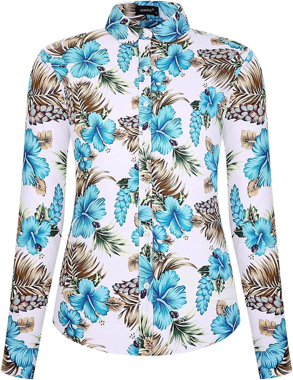 DOKKIA Women's Tops Shirts Casual Long Sleeve Floral Cotton Work Button Down Dress Blouses