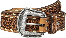 Floral Embossed Laced Edge Belt