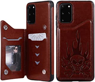 Stylish Cover Compatible with Samsung Galaxy A50, brown Leather Flip Case Wallet for Samsung Galaxy A50