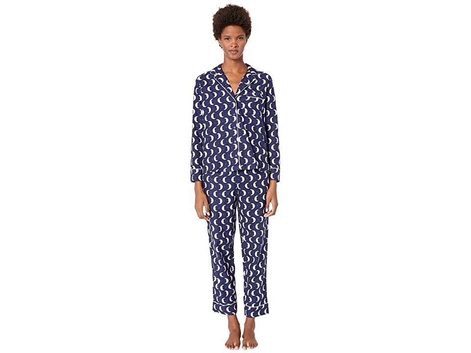 Kate Spade New York Brushed Twill Long Pajama Set (Many Moons) Women