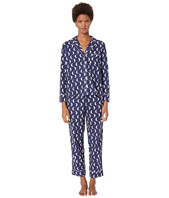 Kate Spade New York Brushed Twill Long Pajama Set (Many Moons) Women