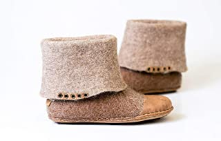 BureBure Women Felted Wool Boots Handmade with Natural Edge Leather