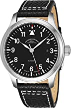Muhle Glashutte Terrasport I Mens Automatic Pilot Watch - Black Face with Luminous Hands, Date and Sapphire Crystal - Stainless Steel Black Leather Band Precision Watch Made in Germany M1-37-34 LB