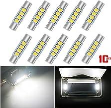 AKKI 10Pcs 28mm 29mm Festoon LED Bulbs, 12V 4-3030 Chipset, 6614F 6612F LED Bulbs for Car Interior Vanity Mirror Sun Visor Lights, Xenon White