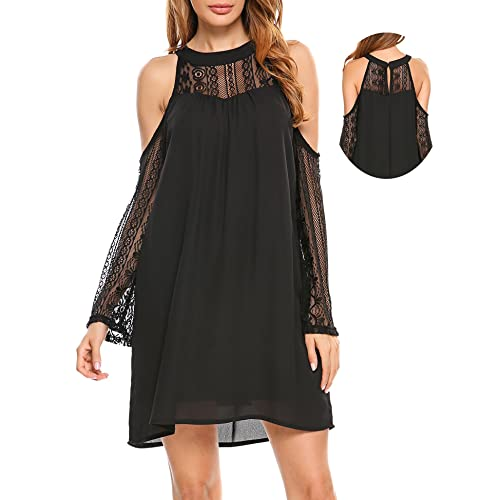 812b55eae77 ACEVOG Womens Cold Shoulder Hollow Lace Long Sleeve Patchwork Top Shirt  Dress Chiffon Dress