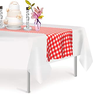 Red Gingham 6 Pack Checkered Premium Disposable Plastic Table Runner 14 x 108 Inch. Decorative Table Runner for Dinner Parties & Events, Decor By Grandipity
