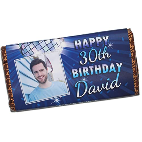 Personalised Mens Boys Happy Birthday PHOTO 114g Milk Chocolate Bar Gift For Him 12th 16th