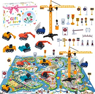 LISM Construction Vehicles Truck Set with Play Mat - Kids Engineering Pull Back Car Toy with 6 Trucks,22 Road Signs,Gifts ...