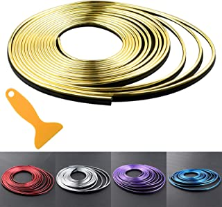 Car Interior Trim Strips - 16.4ft Universal Car Gap Fillers Automobile Moulding Line Decorative Accessories DIY Flexible Strip Garnish Accessory with Installing Tool (5M - Gold)
