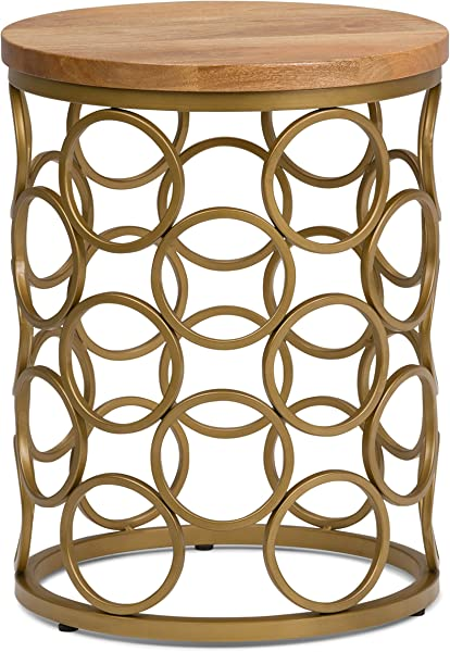 Simpli Home AXCMTBL 18 Sadie Contemporary Modern 17 Inch Wide Metal And Wood Accent Side Table In Natural Gold Fully Assembled