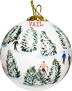 Art Studio Company Hand Painted Glass Christmas Ornament - Skiing The Glades - Vail, Colorado