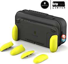 Skull & Co. GripCase Set: A Comfortable Protective Case with Replaceable Grips [to fit All Hands Sizes] for Nintendo Switch - Neon Yellow [Arms Edition]