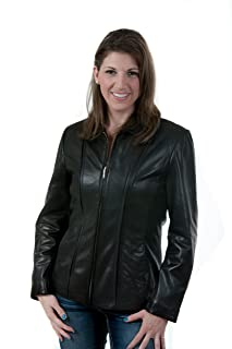 Lee-Cobb Leather Jacket Lambskin Scuba Bomber Jacket Color Black