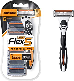BIC Flex 5 Hybrid Men's 5-Blade Disposable Razor, 1 Handle and 6 Cartridges