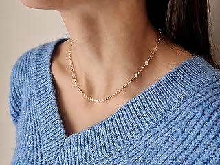 Collar pequeño de cadena de piedras preciosas de cuarzo y ópalo - collar de capas