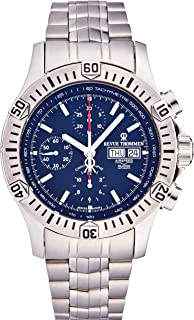 Revue Thommen Airspeed Xlarge Automatic Chronograph Watch - 44mm Blue Face with Day Date, Tachymeter Scale and Divers Bezel - Stainless Steel Bracelet and Swiss Made Waterproof Diving Watch 16071.6126