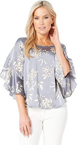 Petite Bell Sleeve Refined Etched Bouquet Blouse