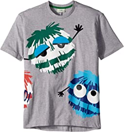 Fendi Kids - Short Sleeve Logo Fur Monster Graphic T-Shirt (Big Kids)