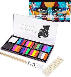 FANICEA Rainbow Face Painting Kit 10 Colors Professional Safe Non Toxic SFX Water Based Split Cake Body Paint Palette Make...
