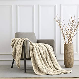 Longhui bedding Cotton Cable Knit Sherpa Throw Blanket – Thick, Soft, Big, Cozy Beige Knitted Fleece Blankets for Couch, Sofa, Bed – Large 50 x 63 Inches Cream Coverlet All Season