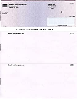 """250 Printed Laser Computer Voucher Checks""""High Security"""" - Heavy Paper 28# - Compatible with Quickbooks - Burgundy/Blue Cubed"""