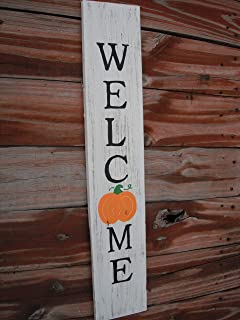 Welcome Fall Porch Sign Pumpkins Wood Front Door Vertical Reclaimed Cedar Handmade Farmhouse Fall Leaves Weathered wood 29