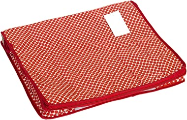 Home Store India Cotton Quilted Large Saree Cover - Red (Set of 4)