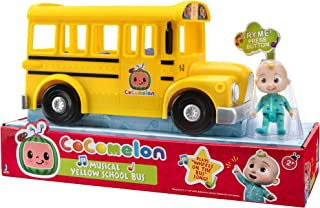 Cocomelon Musical Yellow School Bus, Plays Clip from 'Wheels on The Bus,' Featuring Removable JJ Figure – Character Toys f...