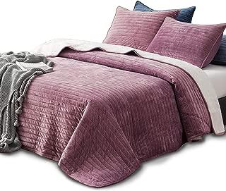 KASENTEX Plush Poly Velvet Lavish Design Quilt Set with Reversible Shu Velveteen Sherpa - Luxurious Bedding Soft & Warm Comforter Machine Washable Comforter (Rosy Mauve, Queen + 2 Shams)