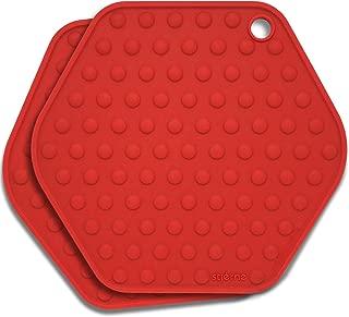 Stjerne Set of 2 Multipurpose Large Silicone Trivets, Mat, Multiple Spoon Rest, Jar Opener, Pot Holder, Coaster, 5-in-1, Heavy Duty & Flexible (Cherry)