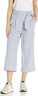 Goodthreads Amazon Brand Women's Washed Linen Blend Paper Bag Waist Crop Pant