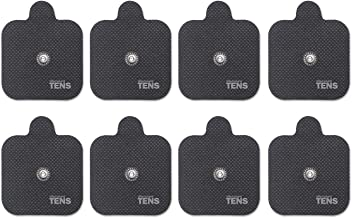 Discount TENS, Compex Easy Snap Compatible TENS Electrodes, 8 Premium Replacement Pads for Compex TENS Units. (2 inch x 2 inch)