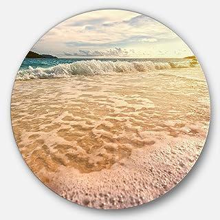 Designart Vintage Style Beach at Similan Park Contemporary Seascape Metal Wall Art Disc of 23 inch, 23X23-Disc, Blue/Orange