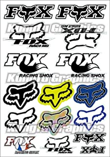 Kungfu Graphics Fox Head Micro Sponsor Logo Racing Sticker Sheet Universal (7.2x 10.2 inch), White Black