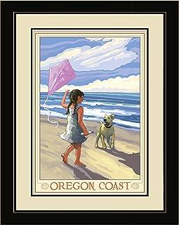 Northwest Art Mall JK-1483 LFGDM GKD Oregon Coast Girl Dog Beach Framed Wall Art by Artist Joanne Kollman, 20 x 26-Inch