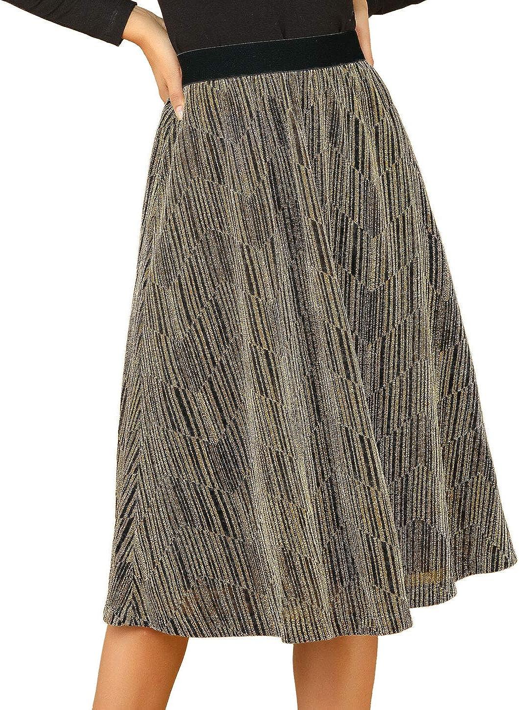 Allegra K Women's High Elastic Waist Metallic Chain Dance Flare Party Midi Skirt