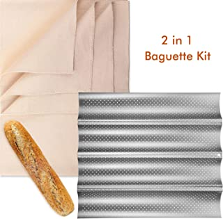 Bread Baking Kit, Nonstick Perforated 4 Loaves Baguette Pan and 35 x 26 Inch Bakes Dough Couche, French Bread Loaf Bake Mold Oven Toaster Pan, Large Cotton Pastry Proofing Cloth for Baking Bread Use