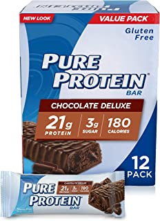 Pure Protein Bars, High Protein Gluten Free Bar, Chocolate Deluxe, 1.76 Oz Bars, 12 Ct