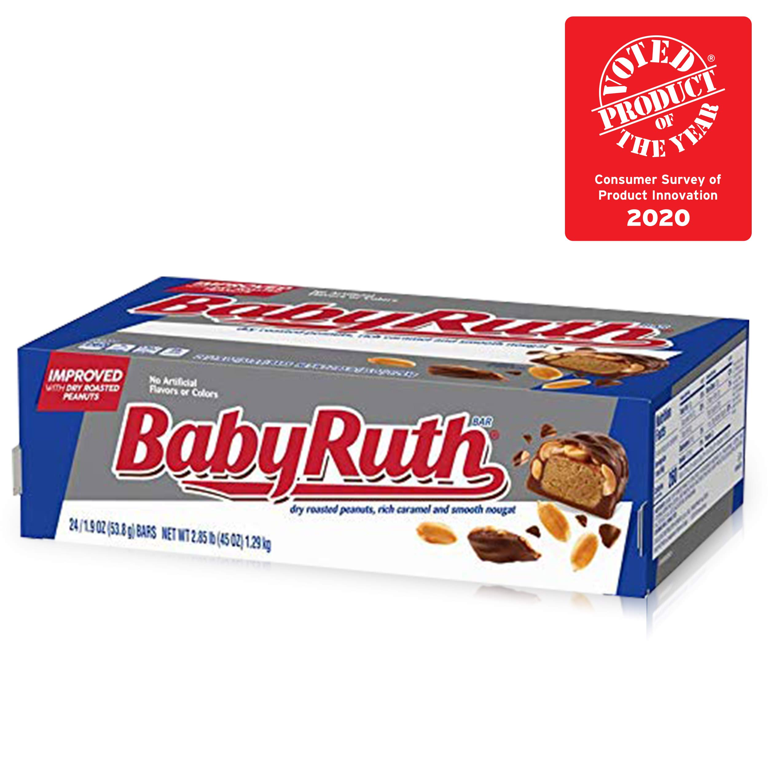 Baby Ruth Milk Chocolate Halloween Candy Bars, Full Size Bulk Ferrero Candy for Trick or Treat Bags, 1.9 oz (Pack of 24)