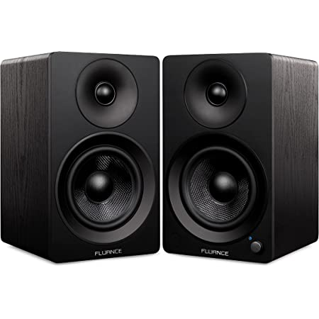 """Fluance Ai41 Powered 2-Way 2.0 Stereo Bookshelf Speakers with 5"""" Drivers, 90W Amplifier for Turntable, TV, PC and Bluetooth 5 Wireless Music Streaming with RCA, Optical & Subwoofer Out (Black Ash)"""