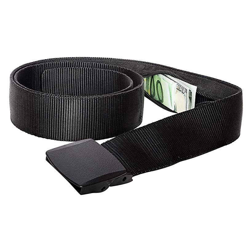 Zero Grid Travel Security Belt - Hidden Money Pouch - Non-Metal Buckle (Black)