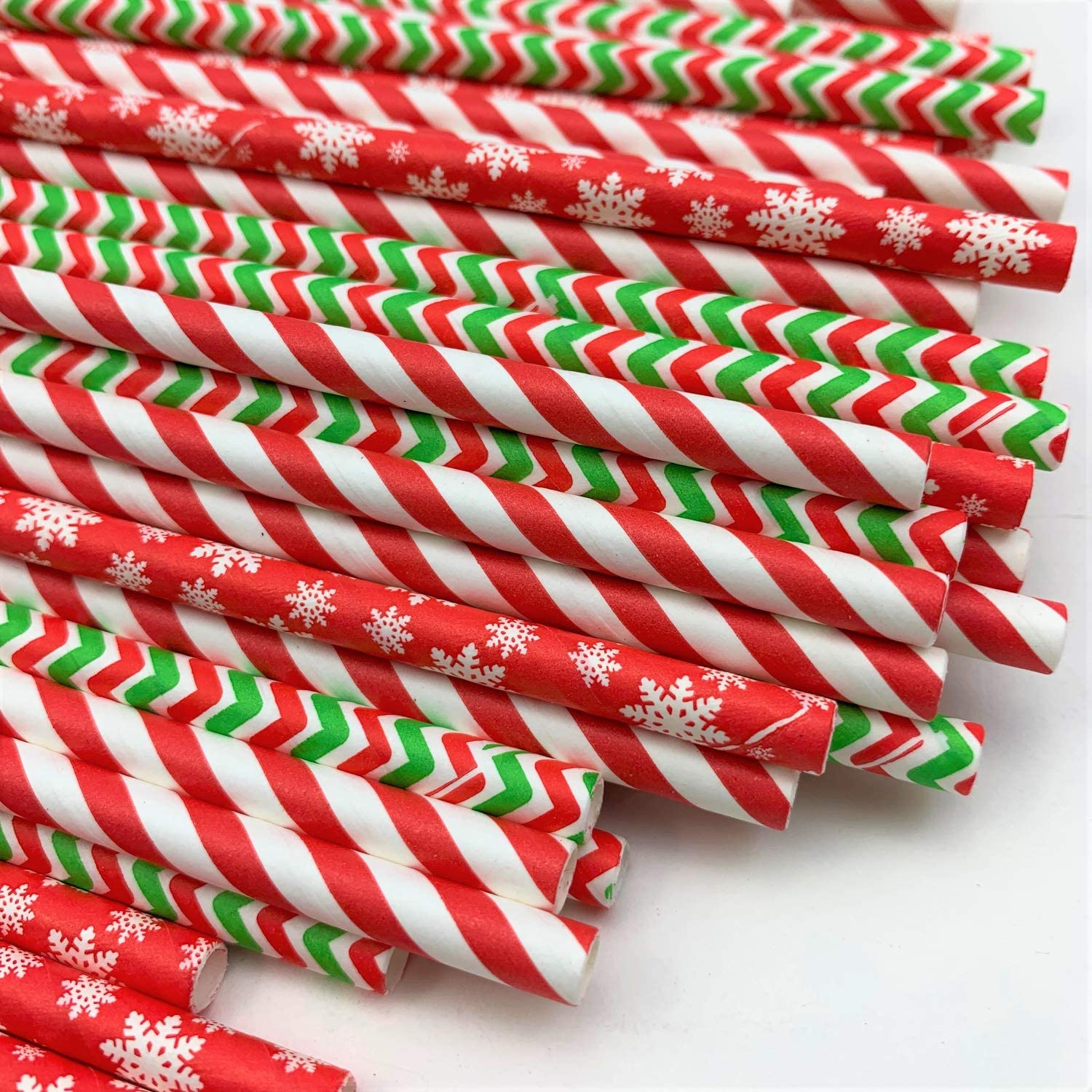 Christmas Paper Straws for Drinking (Pack of 75) Snowflakes, Candy Cane Stripes, & Green and Red Zig Zags Biodegradable Eco Friendly Disposable Party Straws for Holiday Party & Events. Design #2