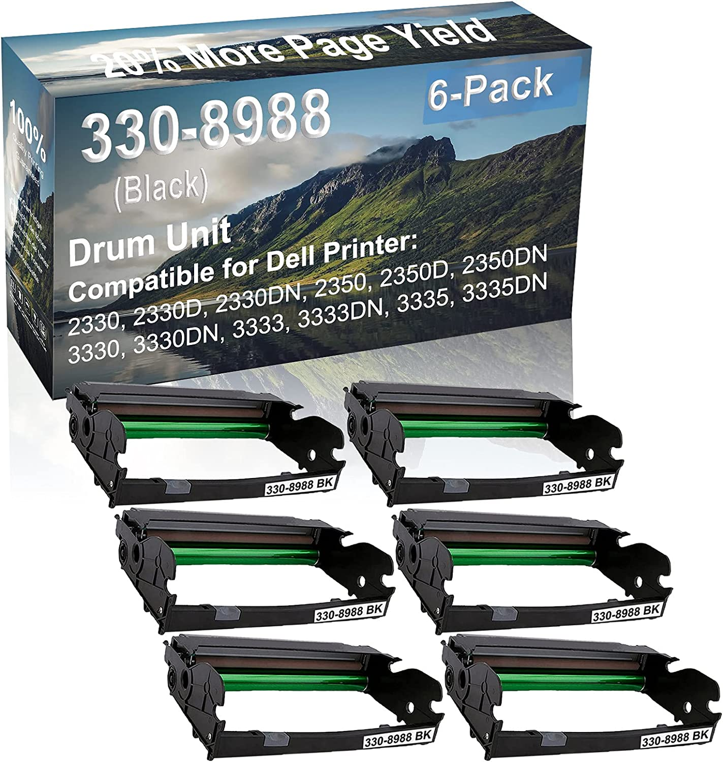 6-Pack Compatible 330-8988 Drum Kit use for Dell 2330, 2330D, 2330DN, 2350 Printer (Black)